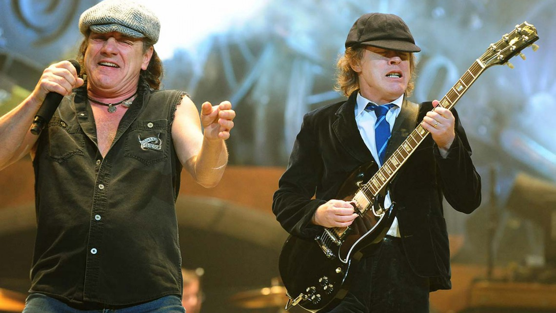 Brian Johnson e Angus Young em 2009. Black Ice Tour.